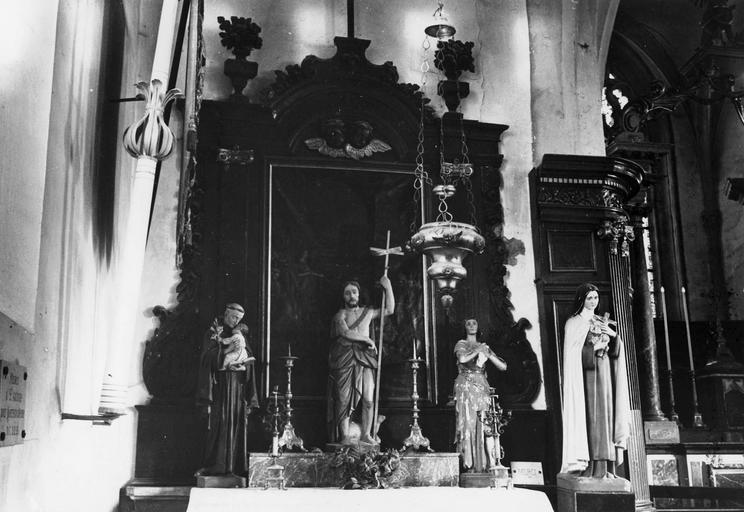 autel latéral nord, retable et tableau : La Décollation de saint Jean-Baptiste, bois peint