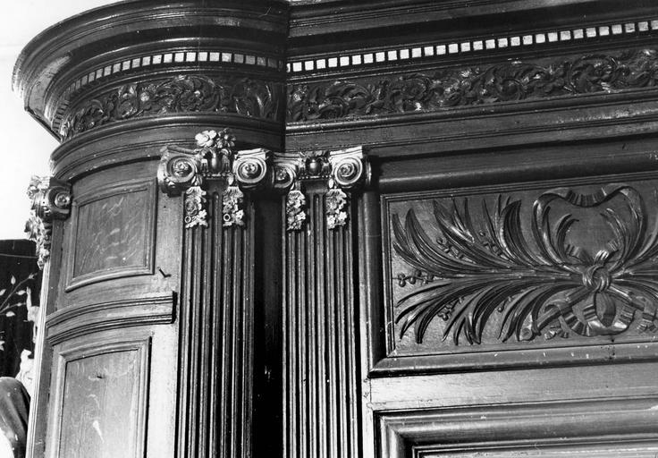 Lambris de revêtement, détail, de la partie supérieure, bois peint
