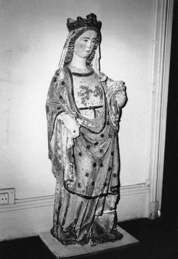 Statue : Vierge à l'Enfant, pierre polychrome, avant restauration