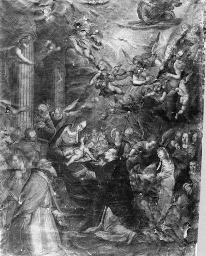 Tableau : Vierge à l'Enfant Jésus remettant le rosaire à saint Dominique, huile sur toile