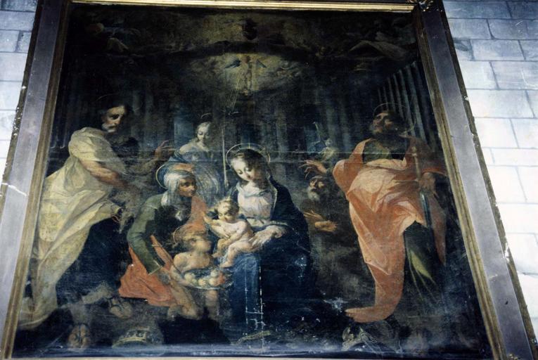 Tableau : Vierge à l'Enfant entre saint Pierre et saint Paul, atelier de Georges Lallemant, huile sur toile
