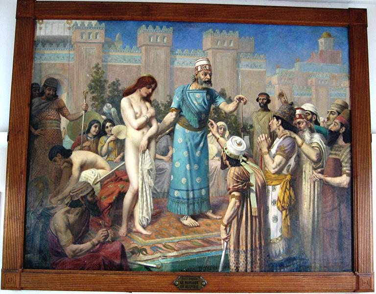 tableau et son cadre : l'achat des épouses en Assyrie, dit le mariage en Assyrie