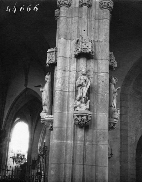 statues : saint Nicolas, saint Eloi, sainte Marthe, saint Laurent, vue générale