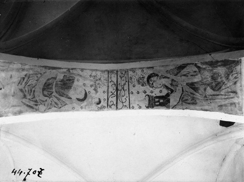 Peintures monumentales : sainte Barbe, saint Christophe