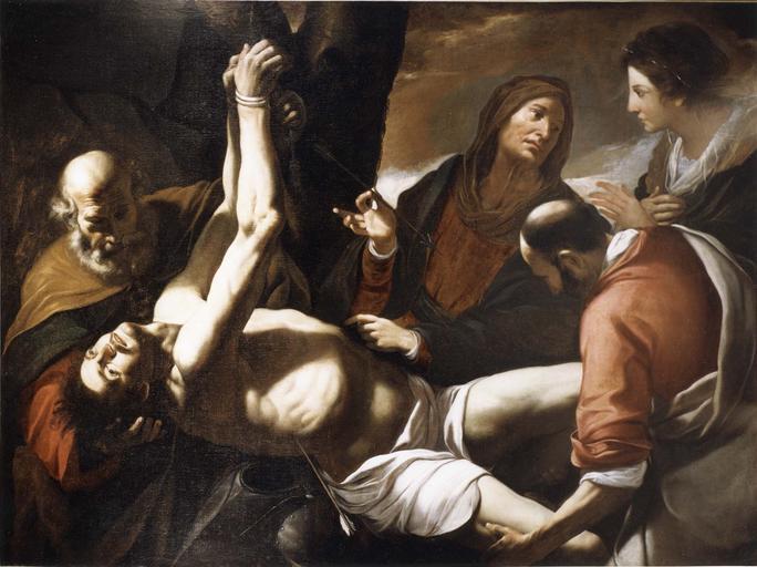 Tableau : Saint Sébastien soigné par Irène (classé sous le titre : La Mise au tombeau de saint Sébastien), huile sur toile
