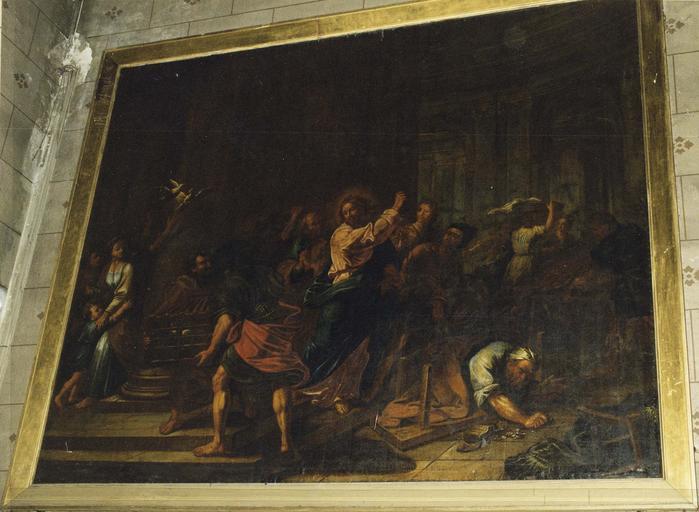 Tableau : Jésus chassant les vendeurs du temple