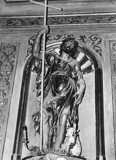 Retable, 2 statues : saint Martin, saint Jean-Baptiste