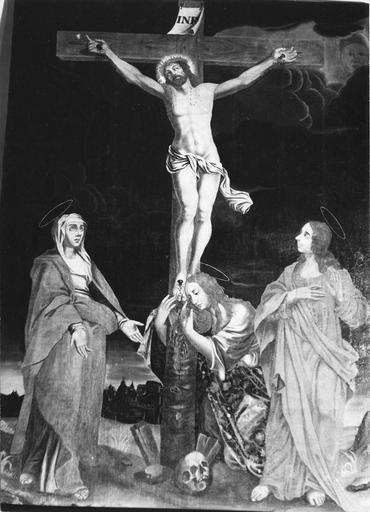 Tableau : La Crucifixion, huile sur toile