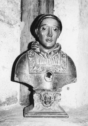 Buste-reliquaire de saint Laurent, bois sculpté, peint, doré