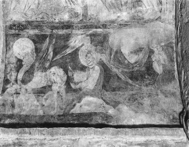 Peinture monumentale : Vierge allaitant l'Enfant Jésus entre deux saints (la)