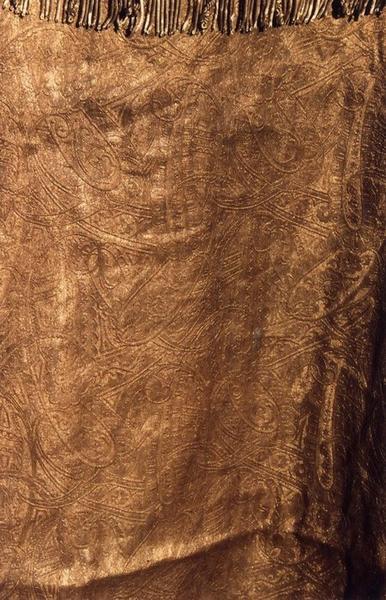 Chape armoriée de monseigneur de Cabrières, évêque de Montpellier (ornement doré), détail