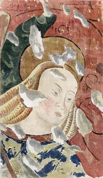 Peinture monumentale : saint Michel devant un évêque