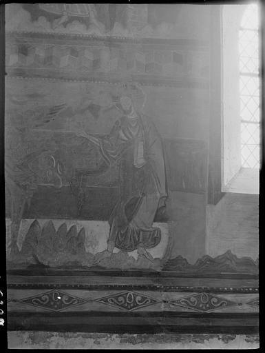 Intérieur : peintures murales du choeur, Tentation du désert