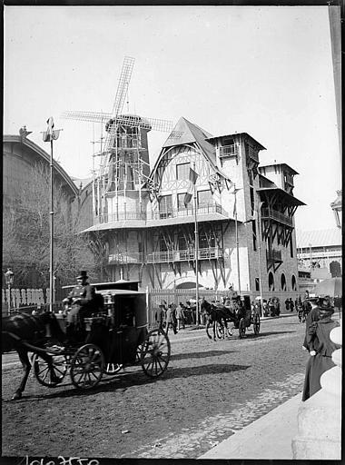 Pavillon du Moulin rose, visiteurs et voitures à cheval