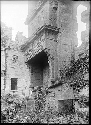 Dans les ruines, cheminée vue en perspective