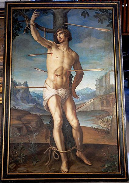 Tableau et son cadre : saint Sébastien