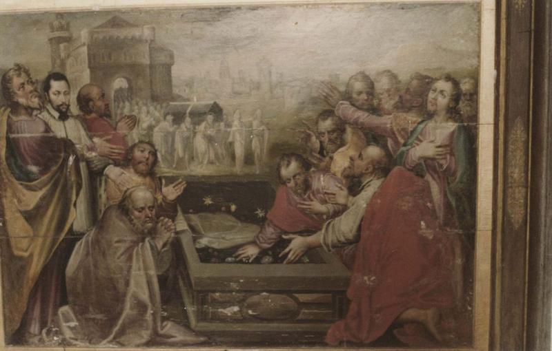 2 panneaux peints : Mariage de la Vierge, Apôtres au tombeau de la Vierge et cadre