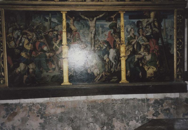 retable : Portement de Croix, Crucifixion, Descente de Croix, vue générale