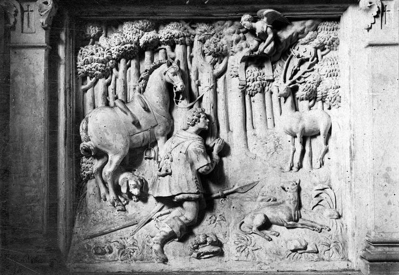 Haut-relief de retable : Chasse de saint Hubert