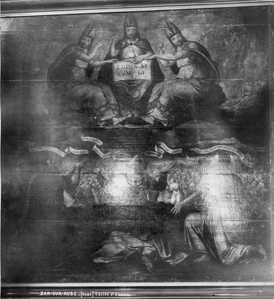 Panneau peint d'autel : Trinité adorée par Abraham, David, saint Jean