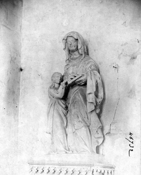 groupe sculpté : Éducation de la Vierge, vue générale