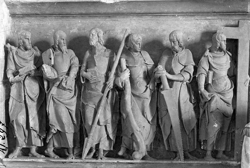 Retable, haut-relief : Christ et les Apôtres