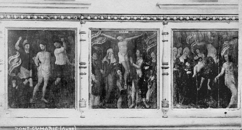 3 panneaux peints : Flagellation, Crucifixion, Résurrection