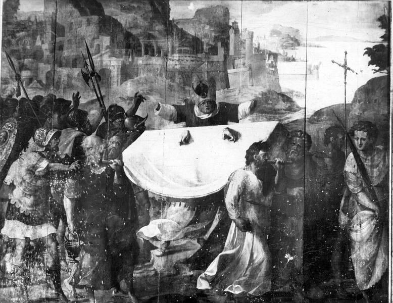 Panneau peint : Convoi de la Vierge avec l'épisode du Grand Prêtre