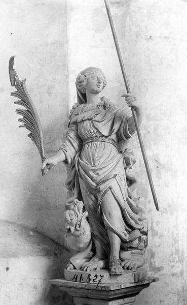 statue (petite nature) : sainte Marguerite, vue générale