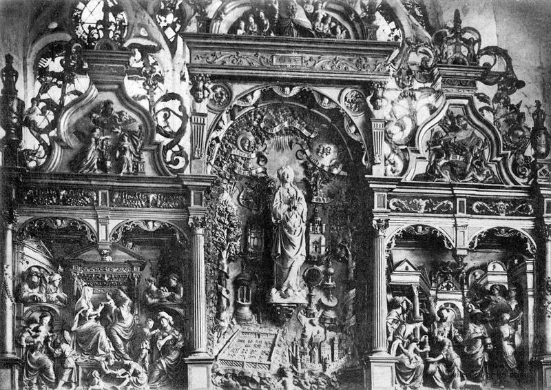 Retable de la chapelle de la Vierge : Vierge, Adoration des Mages, sainte Anne et les trois Marie