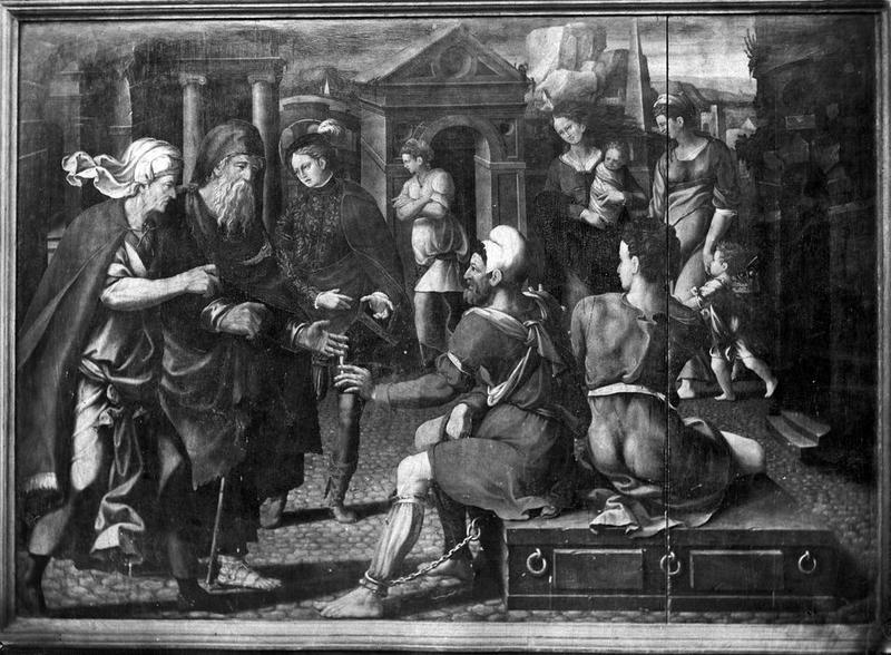 volet de triptyque : Vie d'un saint martyr ou de saint Martin, vue partielle