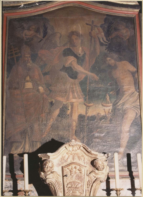 tableau : saint Michel entre un pape martyr et saint Sébastien, vue générale