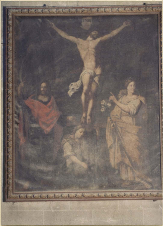 tableau : Christ en croix entre saint Julien, sainte Basilisse et sainte Madeleine (le), cadre