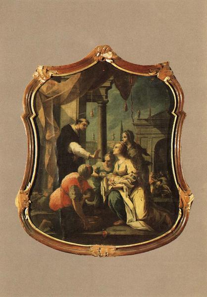 tableau, cadre : Saint Dominique ressuscitant un enfant, vue générale