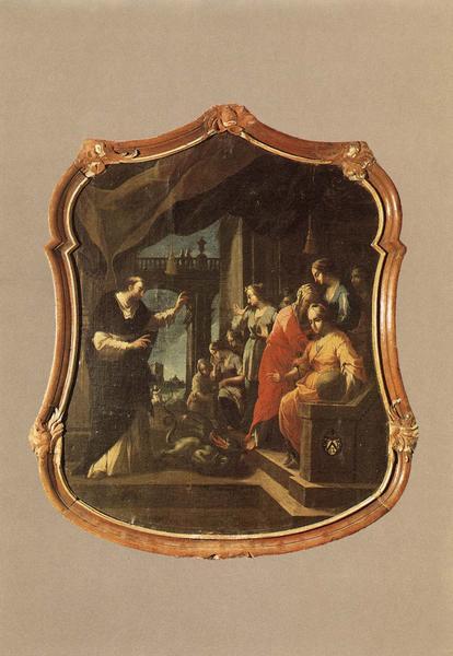 tableau, cadre : Saint Dominique montrant le démon à neuf dames cathares, vue générale