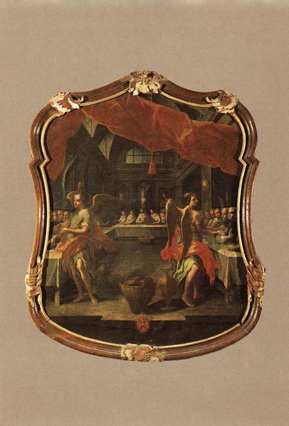 tableau, cadre : Saint Dominique et ses religieux servis par les Anges, vue générale