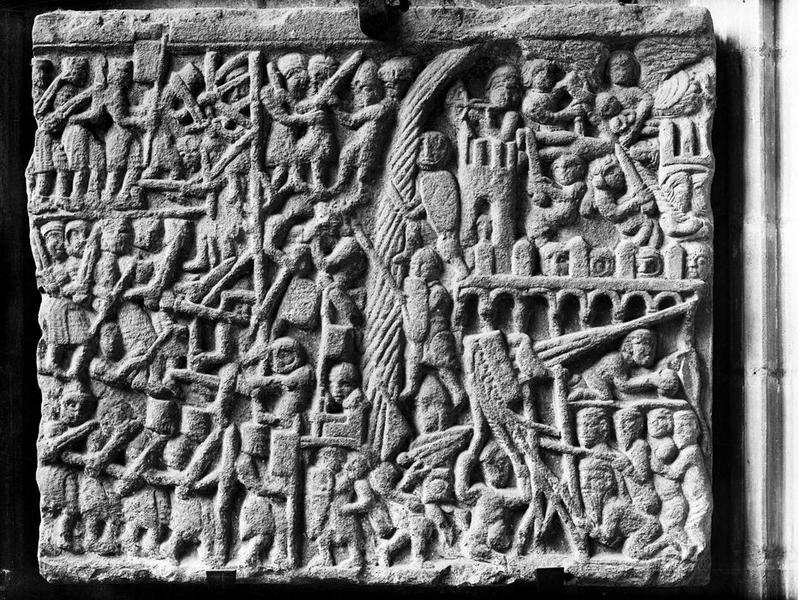 bas-relief : Le siège de Toulouse en 1218 (?), vue générale