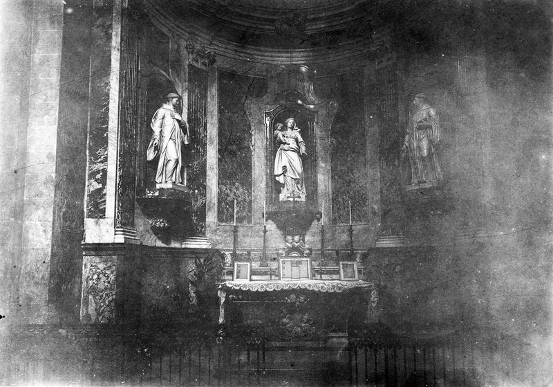 statues : Vierge à l'Enfant, saint Maur, saint Benoît, vue générale