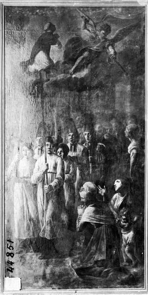 tableau : La procession du miracle de la poutre de saint Dominique, vue générale