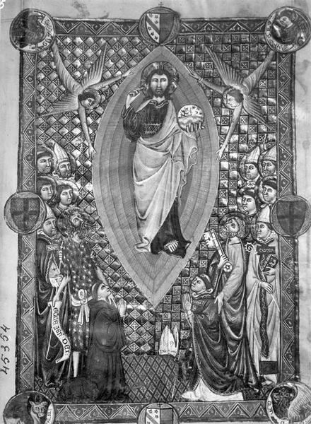 Manuscrit : pontifical de Pierre de La Jugie, archevêque de Narbonne, vue partielle
