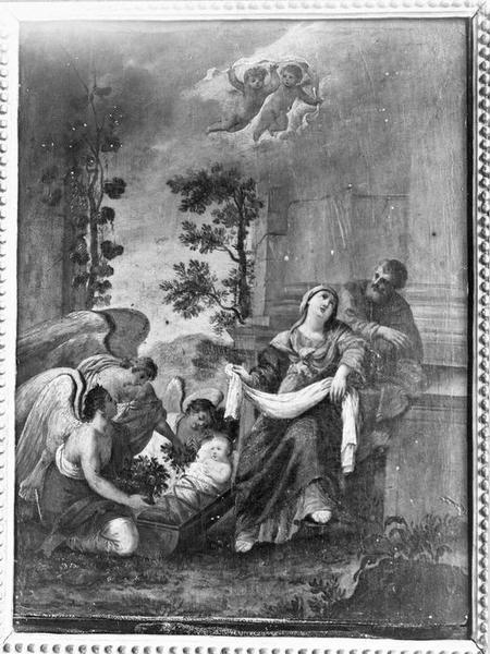 tableau (panneau peint) : La Sainte Famille avec les anges, vue générale