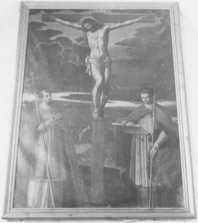 tableau : Christ en croix entre saint Paul de Narbonne et saint Martin de Tours (le), vue générale