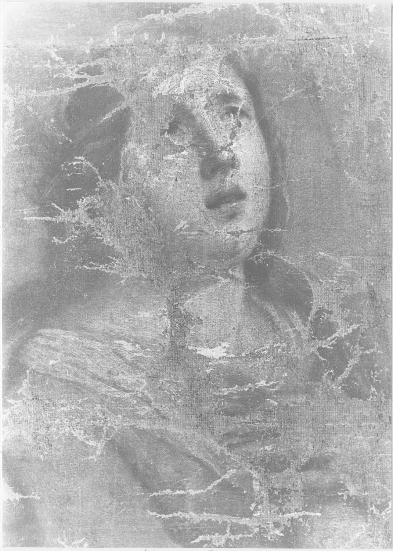 Tableau : Le Christ en croix entre la Vierge, saint Jean et sainte Marie-Madeleine, détail