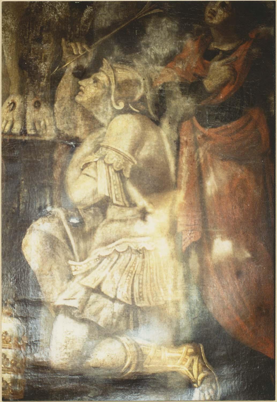tableau : Le Christ en Croix entre la Vierge, saint Pierre, saint Sébastien et saint Jean, détail