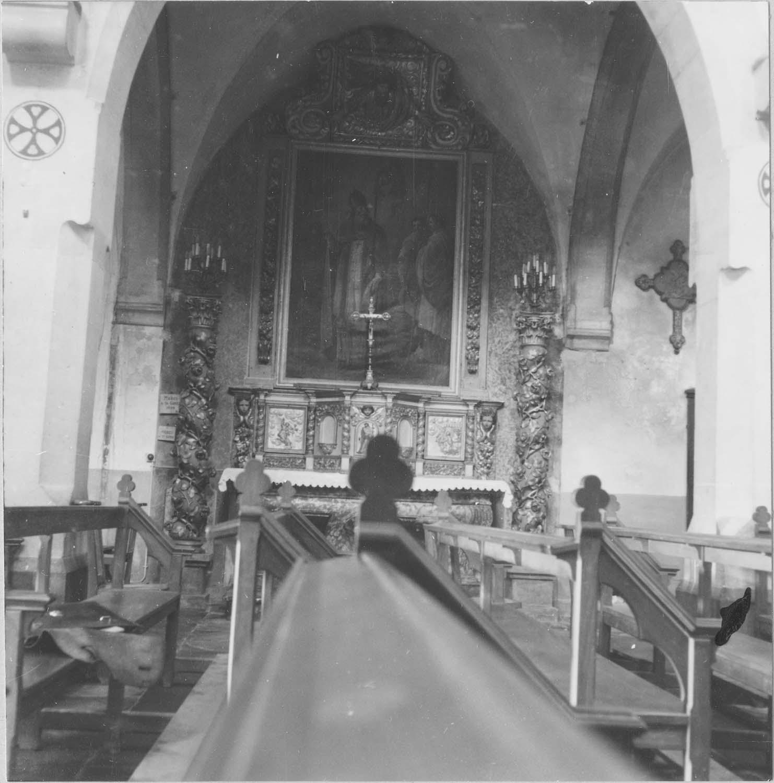 Autel de saint Gimer, tableau : saint Gimer suivi de deux clercs