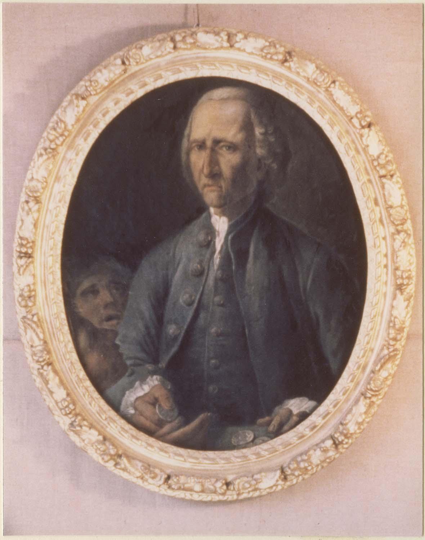 Tableau : Bienfaiteur tenant dans ses mains des pièces de monnaie, cadre