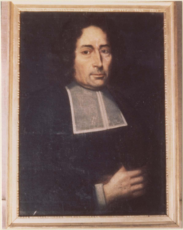 Tableau : Ecclésiastique tenant une bourse dans sa main droite, cadre