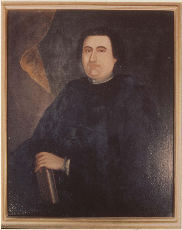 Tableau : Ecclésiastique tenant un livre de sa main gauche, cadre