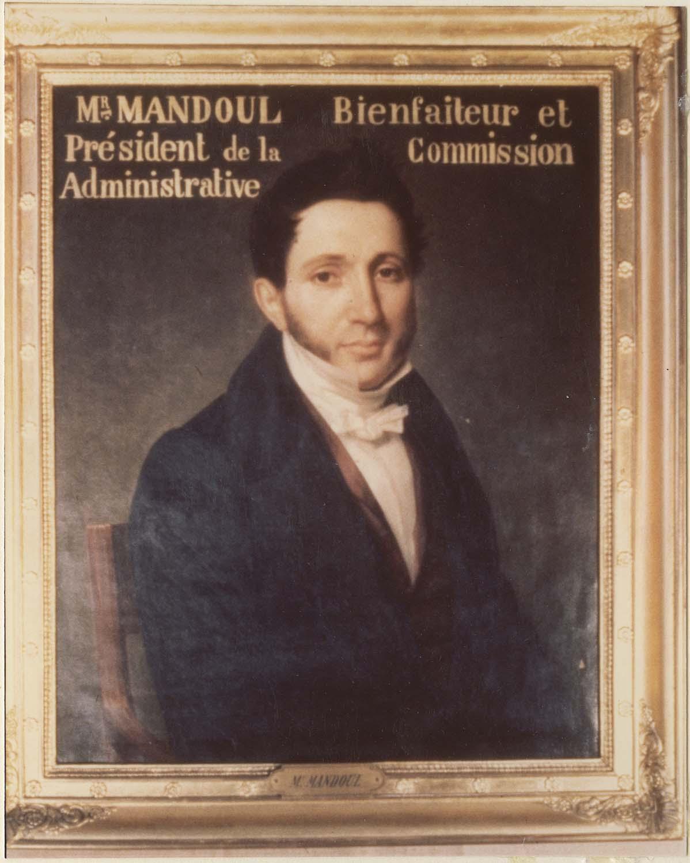 Tableau : M. Mandoul, bienfaiteur et président de la Commission administrative, cadre