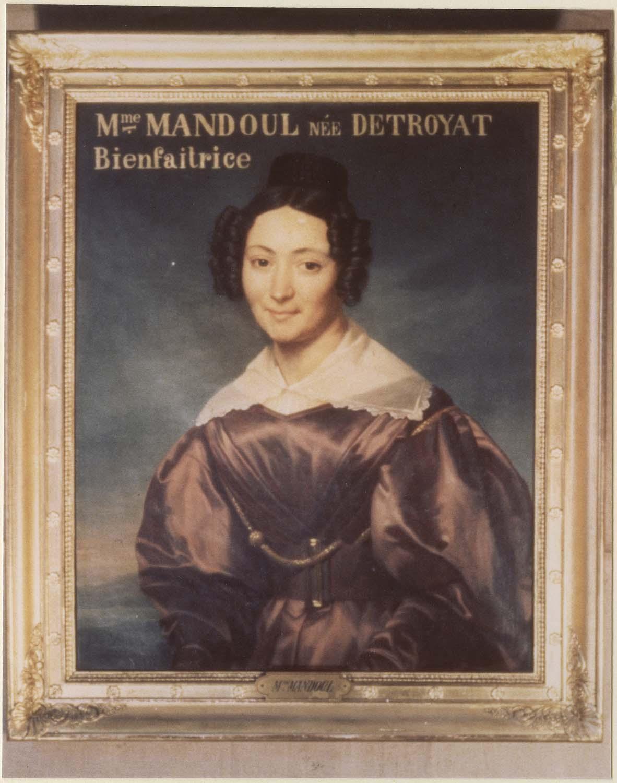 Tableau : Madame Mandoul, bienfaitrice, cadre